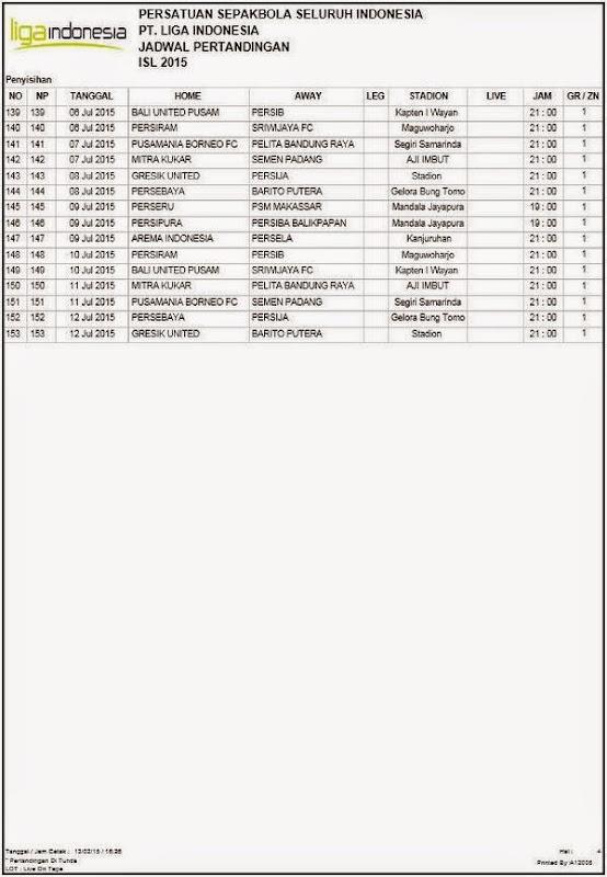 Jadwal Lengkap Pertandingan ISL 2015 Putaran Pertama