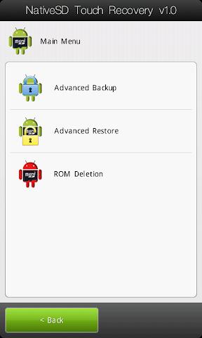 [TUTO] Utiliser le NativeSd Touch recovery 1.0 (en images) NativeSD_Touch_Recovery_0-2_Menu