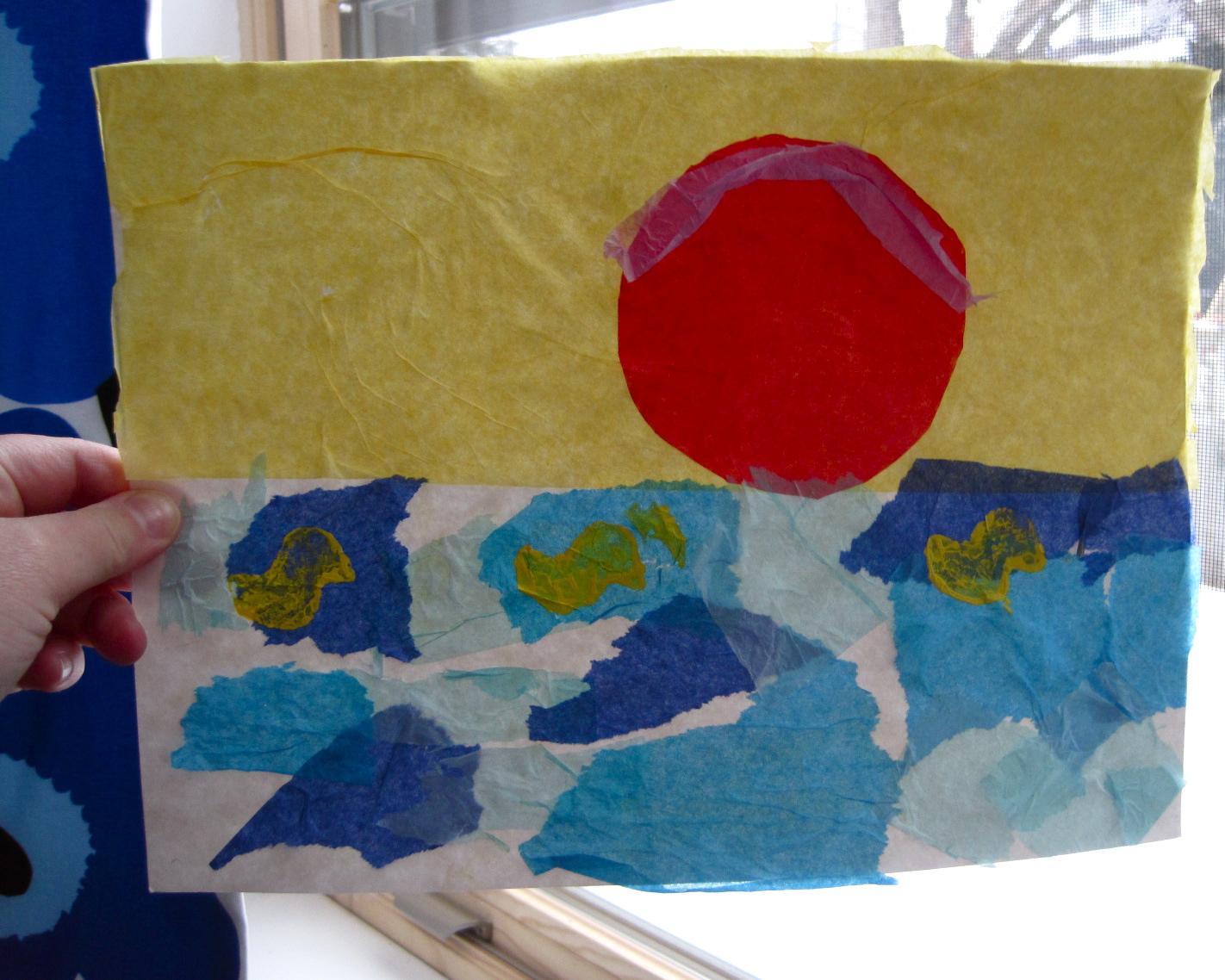 make a tissue paper + potato stamp craft