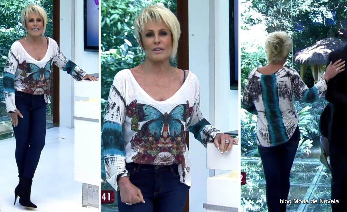 moda do programa Mais Você - look da Ana Maria Braga com blusa de borboletas dia 18 de julho