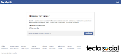 Facebook - Recordar navegador o no - Guardar navegador o no