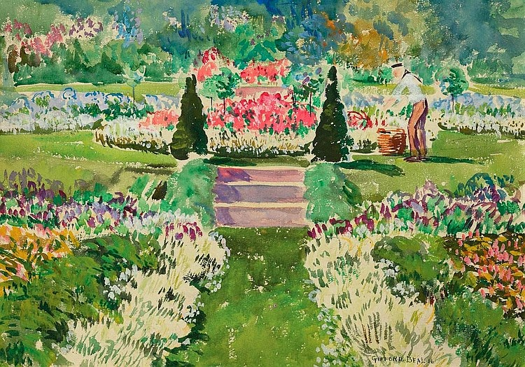Gifford Beal - Summer Garden with Gardener