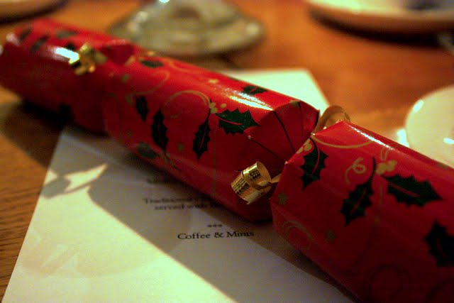 Christmas cracker at Formal Hall at Newnham College at Cambridge University in England