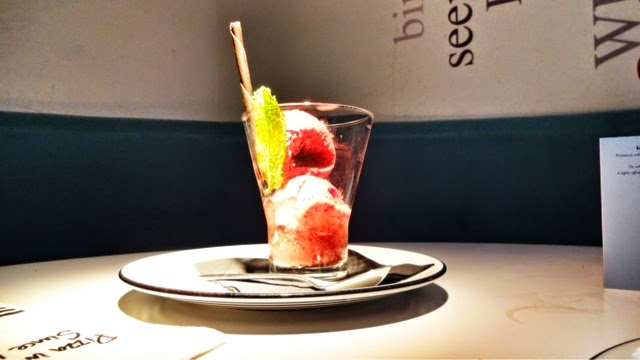 Pizza Express Raspberry sorbet with chocolate stick (dairy free)
