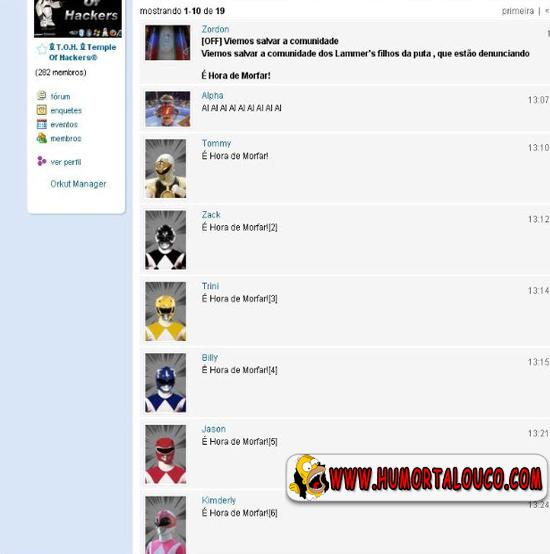 Perolas do Orkut, Power Rangers, salvam comunidade