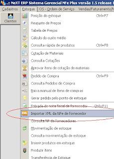 NeXT ERP NFe 2.0 segunda geração importação XML da NFe de fornecedor