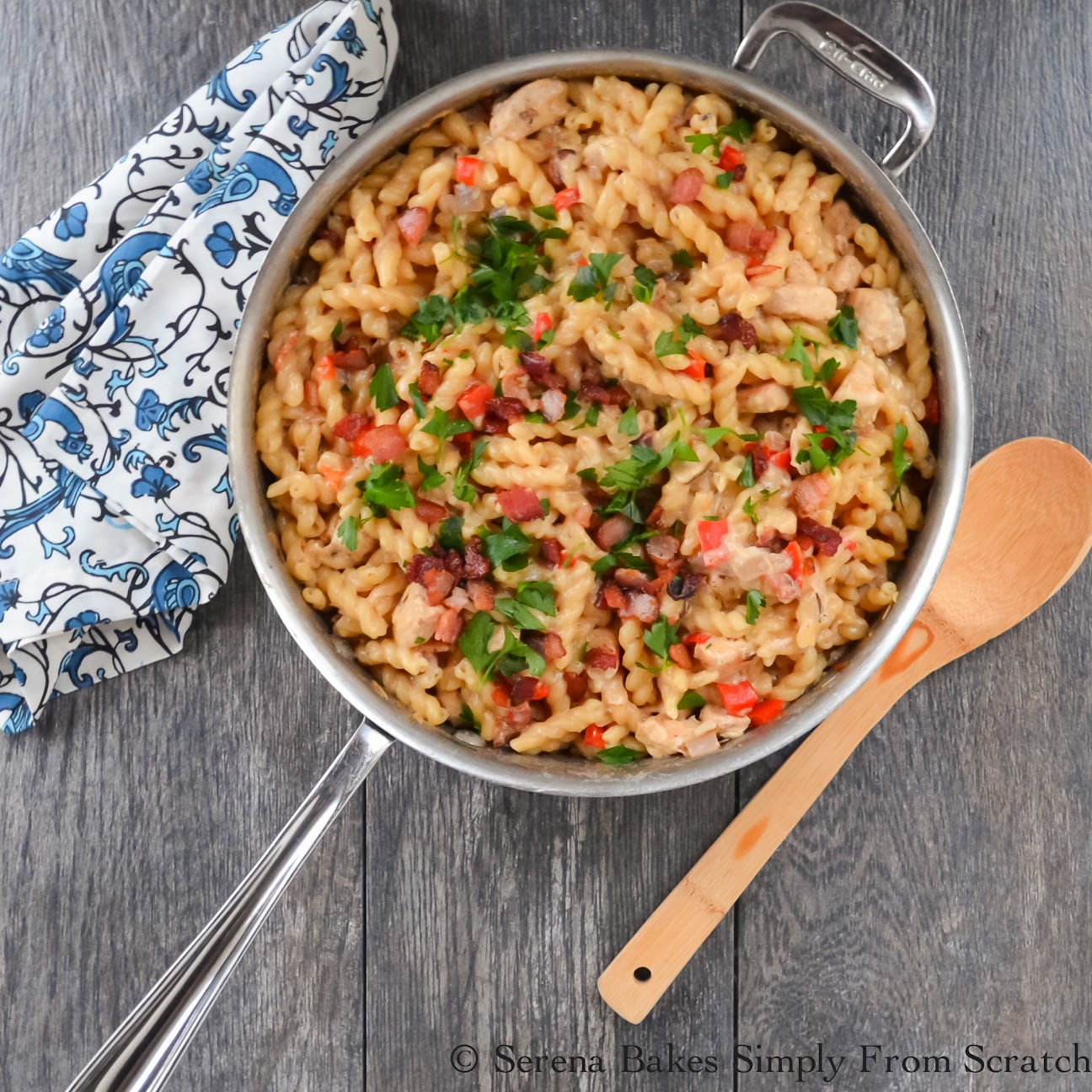 Creamy Bacon Chicken and Pasta Skillet | Serena Bakes Simply From Scratch