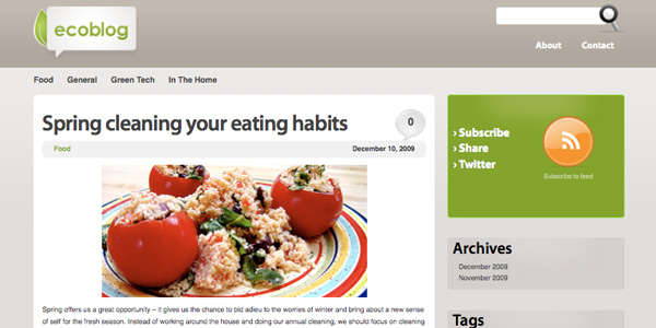 Simple Clean WordPress Theme ecoBlog