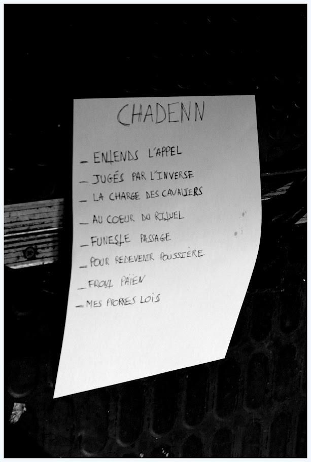 Set-list Chadenn @ Le Klub, Paris 21/04/2013