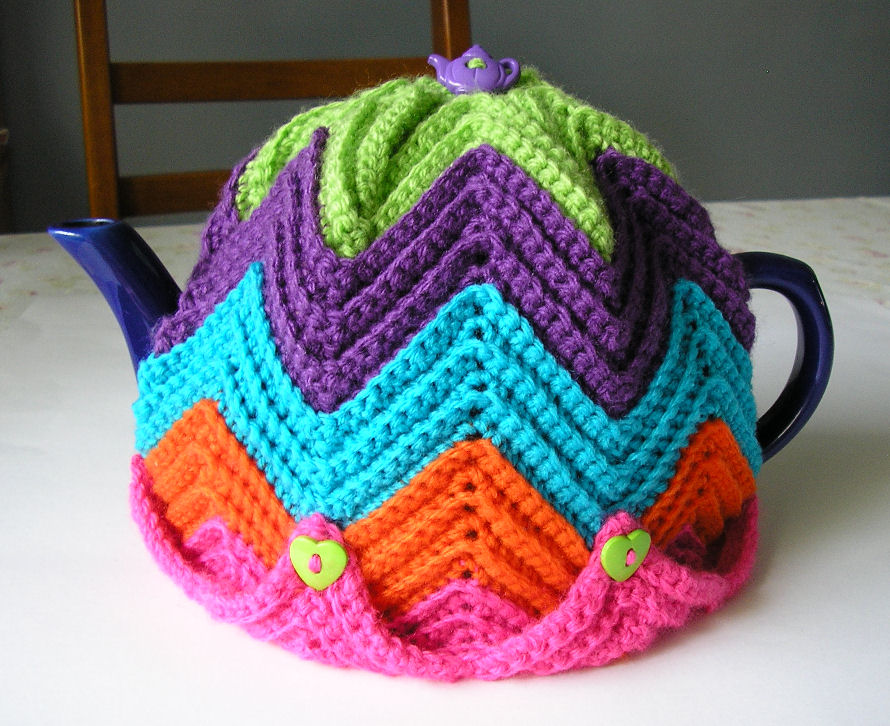 Free Easy Tea Cosy Crochet Pattern : Justjen-knits&stitches: Justjens Easy Ripple Tea Cosy