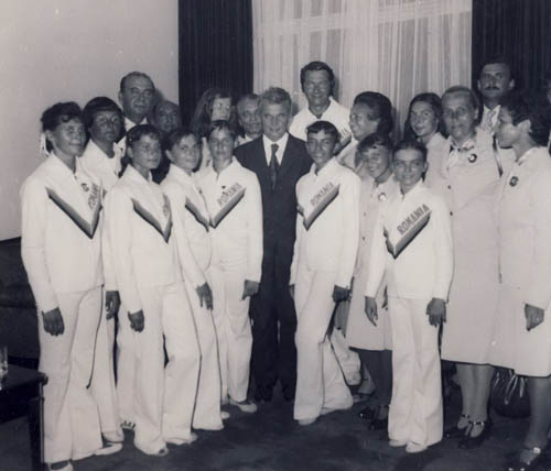1976. Ceausescu family in the middle of gymnasts participating in the Olympics in Montreal