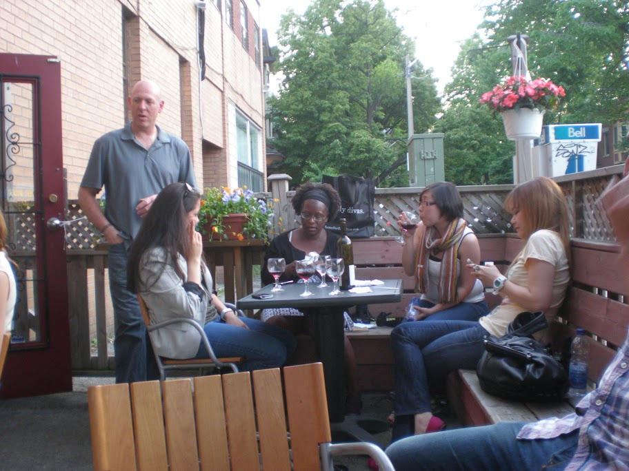 Mark Michelin on his patio with blogging dinner guests.