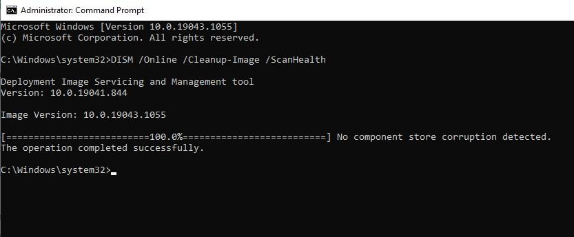 DISM /Online /Cleanup-Image /ScanHealth