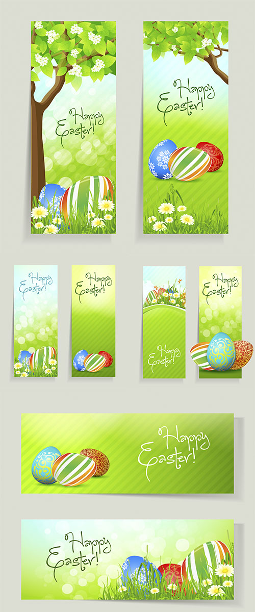 Stock: Set of Easter Cards with Grass
