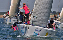 J/105 one-design sailboat- with women's sailing team