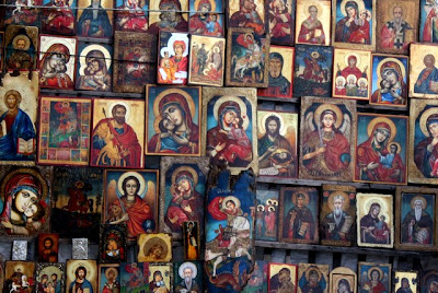 Icons for sale in a market in Sofia