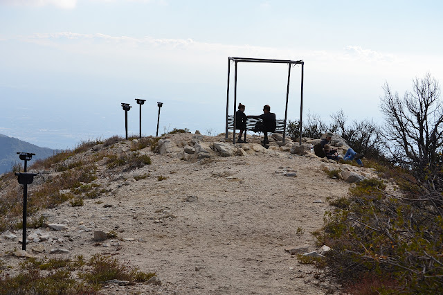 bench and sighting tubes at the top of Mt. Lowe