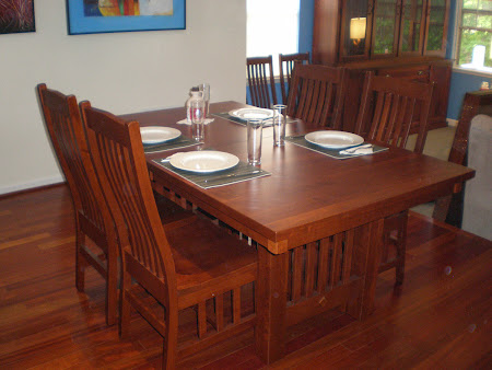 60 x 42 Mission Dining Table and Raised Mission Chairs in Traditional Cherry