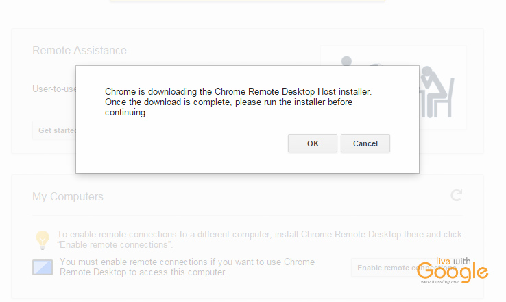 Chrome remote desktop app