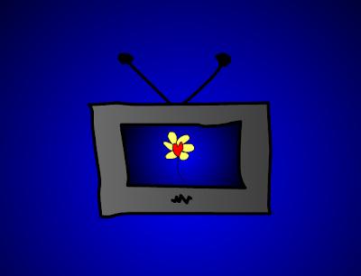 Televizor sa cvetom na ekranu