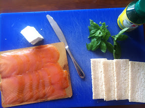 Light cream cheese, salmon, cruskit, fresh basil