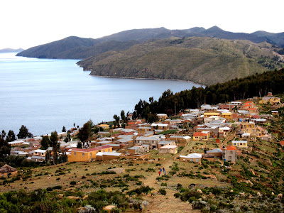 Views over the Isla del Sol on Lake Titicaca in Bolivia