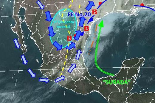 Mapa meteorológico de México para el 9 de enero de 2013