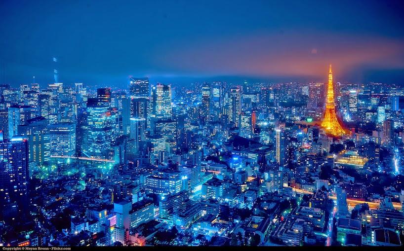 tháp truyền hình tokyo buổi đêm