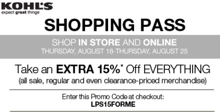 Kohls shopping pass 15 off