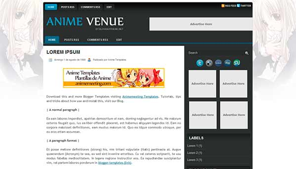 anime blogger template Anime Venue