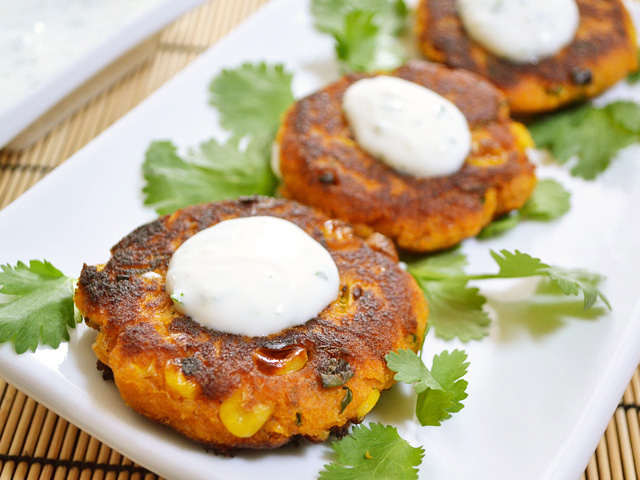 sweet potato corn cakes with garlic dipping sauce $5.96 recipe / $0.60 serving