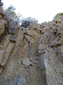 Nearly vertical route to the top of the cliffs