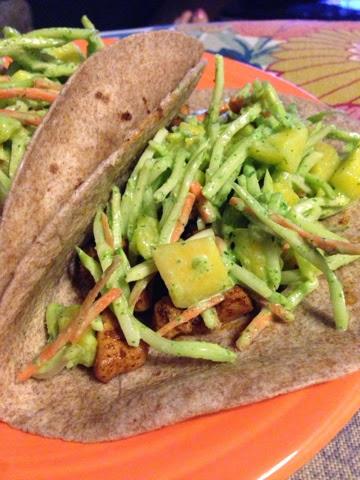 elefantitas alegres: Ancho Chicken Tacos with Hatch-Mango Slaw