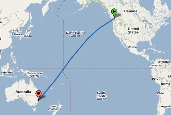 Sydney to hawaii map bnhspine round the world in 200 days sayonara arrivederci au gumiabroncs Image collections