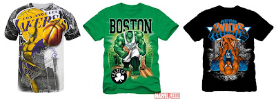The Marvel x NBA Clothing Collection - Spider-Man Lakers, Hulk Boston Celtics & Spider-Man Knicks T-Shirts