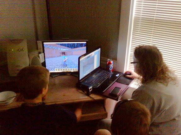 Bradley and Traci playing Minecraft