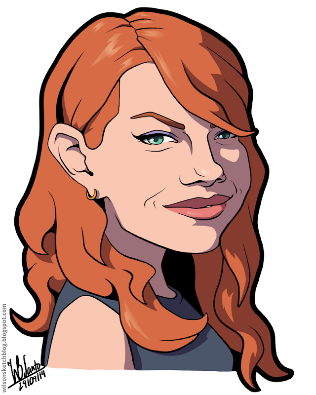 Cartoon caricature of Emma Stone.
