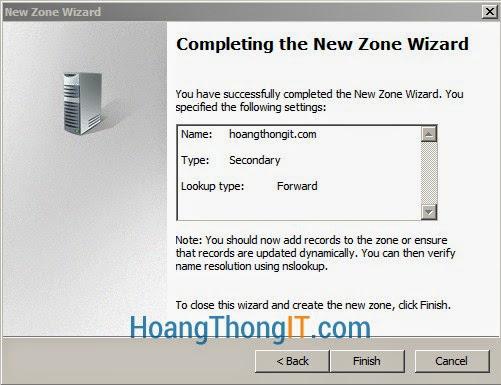 Cấu hình DNS Secondary windows 2008