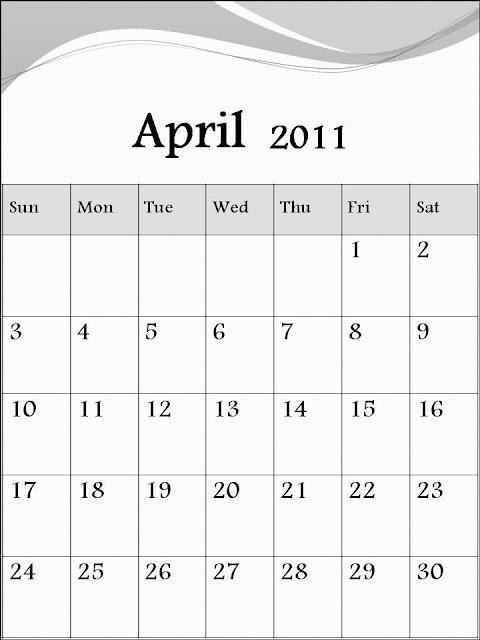 blank calendar april 2011. calendar of 2011 april