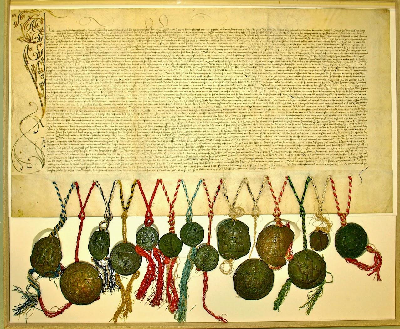 Document original de la Convention d'adhésion entre la Confédération Helvétique et Mulhouse du 19 janvier 1515 (14 cantons)