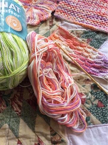 Hand knit wash cloths - Work in Progress