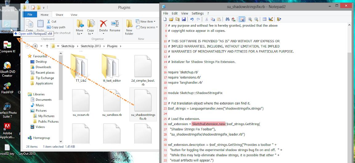 การติดตั้ง Extensions ให้กับ SketchUp 2013 และวิธีการแก้ปัญหาสำหรับ Extensions ที่ไม่ยอมทำงาน Su2013re32