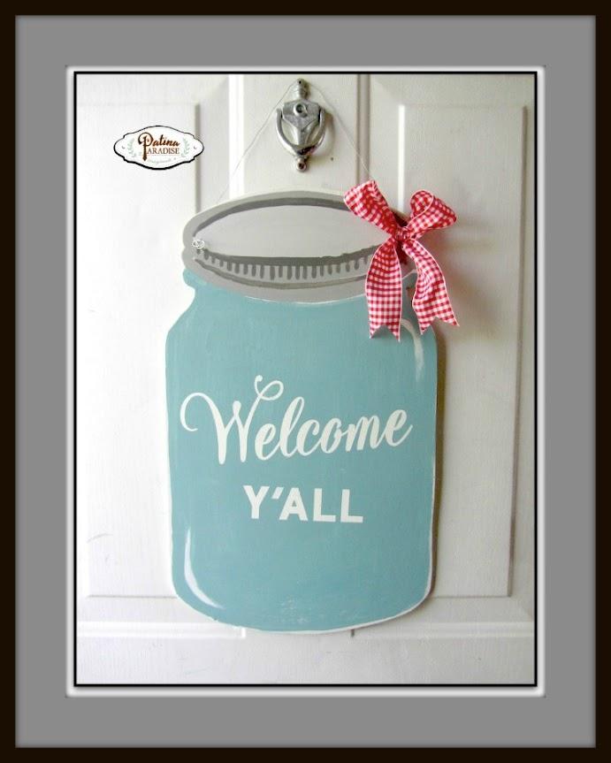 Painted Wood Mason Jar Door Hanger