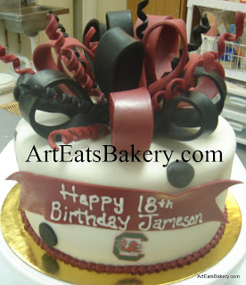 Garnet and black polka dot and gamecock unique custom fondant birthday cake with sugar bow topper