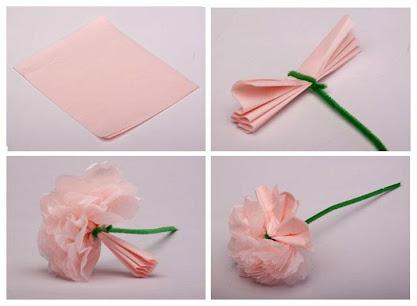 como hacer clavel con servilleta de papel