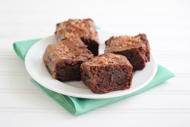 photo of four brownies on a plate