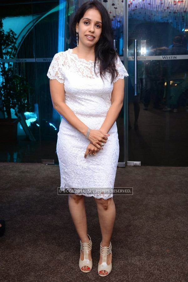 Preethi at Ritesh and Namrata's 15th wedding anniversary, held at a city hotel in Hyderabad.