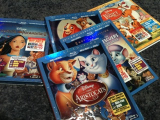 Películas Disney Blue Ray Pocahontas Aristocats, Tigger The Rescuers Lady and the Tramp