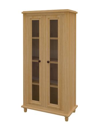 Lotus Glass Door Bookshelf in Ginger Maple