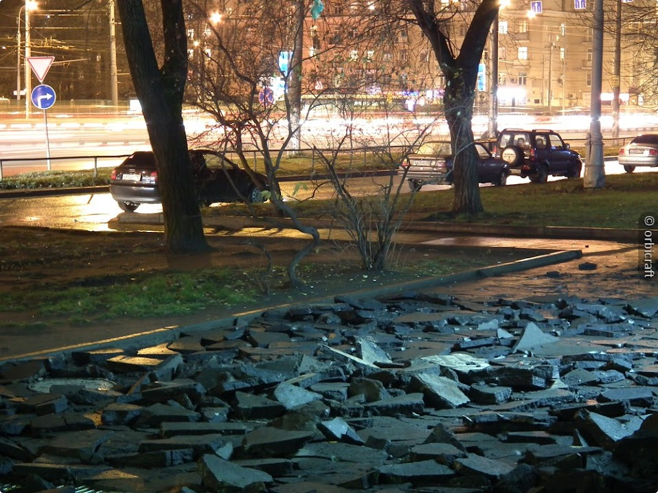 Вссобяненный тротуар в начале Ленинградки